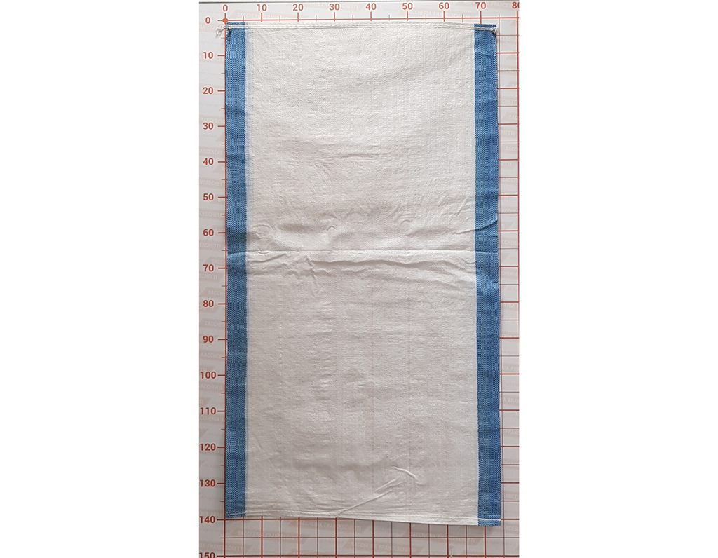 Small Bag 075X140 White Hemmed Mouth with Light Blue Bands